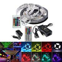 5M SMD 3528 5050 RGB/White 300LEDs LED Strip Lights DC 12V Adapter Power Supply