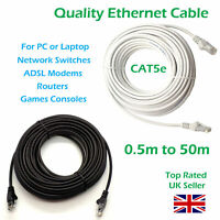 Ethernet Cable PC Gaming Xbox PS4 Network Patch Lead RJ45 Cat5e 0.5 to 50m LOT