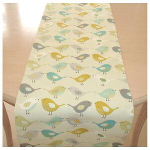 """5ft Table Runner 150cm Kissing Birds Saffron Duck Egg Ochre Teal Grey 60"""" Nordic"""