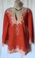 New Women's Plus Size 2 XL Cotton Tunic Top Blouse Top Kurti Color Orange
