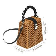Beads Straw Bag Purse Tote Clutch Handbag Beach Womens Summer Rattan Bag