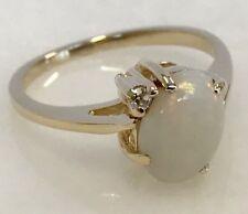 Beautiful 14k Yellow Gold Opal & Diamond Ring