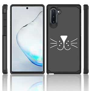 For Samsung Galaxy Note 10 + Shockproof Hard Case Cover Cat Face Whiskers