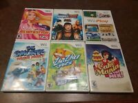 Lot of 6 Nintendo Wii Girls Games Wii Play Barbie The Smurfs Zhu Pets Cake Mania