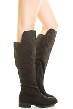 Womens Faux Suede Casual Boots Flat Low Heel Mid Calf Knee High Zip Round Toe US