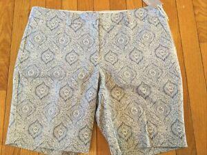New NWT Kenar Paisley Blue And White Bermuda Longer Length Shorts Woman's SZ 12
