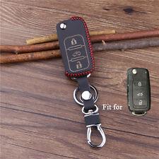 Leather car key cover for Volkswagen POLO Tiguan Passat B5 B6 B7 Golf MK6 EOS MK