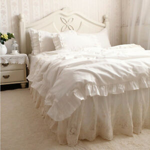 Luxury Embroidery Ivory Ruffle Lace Cotton Duvet Cover Bedding Set Bed Skirt