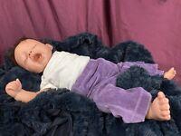 Pat Moulton Artist OOAK Realistic Reborn Baby Girl Doll Sleeping Rooted Hair EUC