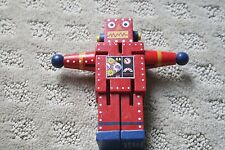 """The Original Toy Company 4.5"""" Wooden Red RobotMoveable Twisting Bending"""
