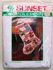 Vintage Needlepoint Christmas Stocking Kit Teddy Bear USA New Sunset Original