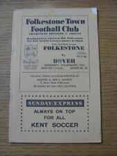27/01/1965 Folkestone Town v Dover [Kent Floodlight League] (Folded, Worn Corner
