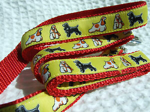 AMERICAN COCKER SPANIEL BREED SPECIFIC DESIGN WOVEN RIBBON DOG COLLARS OR LEADS