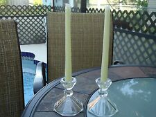 Beautiful Set of Crystal Reversible Candle Holders w/ tapers
