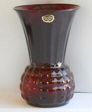 Anchor Hocking ~ Royal Ruby Red Glass Pineapple Vase with Label