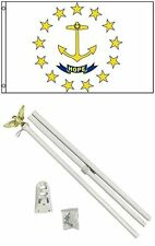 3x5 State of Rhode Island Flag White Pole Kit Set 3'x5'