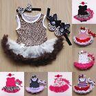 3pcs Baby Girls Headband+Romper Bodysuit One Piece Tutu Skirt Dress Clothes Sets