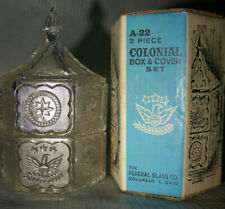 Vintage Federal Glass Company A-22 3 piece Colonial Box & Cover Set, NIB