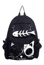 Black Gothic Emo White Cat Kitty Speaker Rucksack Backpack By Banned Apparel