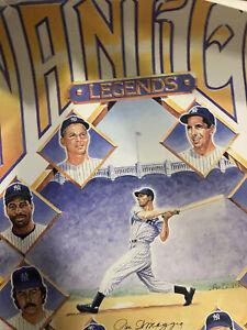 joe dimaggio signed poster lithograph full psa Yankees Legend new york