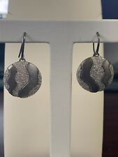 Effy Collection Silver 1.03 CT Diamond Black Rhodium Hanging Disc Earrings Hook