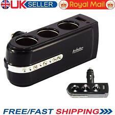 3 WAY MULTI SOCKET CAR CHARGER SPLITTER USB CIGARETTE LIGHTER DC 12V PLUG UK