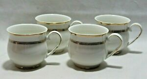 Grace Teaware White Porcelain Coffee Mugs Gold Accent Trim Set of Four New
