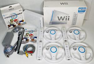 Mario Kart Nintendo Wii BUNDLE Console 4 Controllers 4 Wheels & Game w/ BONUS!