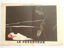 PAUL IRIBE LE FOSSOYEUR Belle GRAVURE ORIGINALE ART DECO sur bois couleurs