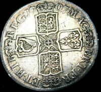 Great Britain Half Crown 1707   Queen Anne Great Details for the Age  A46-652