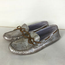 Johnston & Murphy Women's 9 Silver Leather Driving Moc Loafer Excellent Comfort