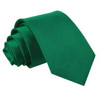 DQT Satin Plain Solid Emerald Green Kids Child Holy Communion Page Boys Tie