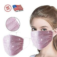 Glitter Rhinestone Face Mask Cover Adjustable Washable Wedding Pink Bling NEW