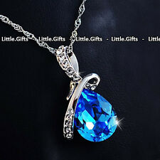 Blue Teardrop Crystal Necklace Present Unusual Gift For Her Wife woman Girl Mum