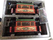 LGB SEASON'S GREETINGS CHRISTMAS TRAIN SET TROLLEY / TRAM 2 Car Set G Scale LOT