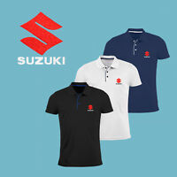 Suzuki Polo T Shirt EMBROIDERED Auto Car Moto Logo Slim Fit Tee Mens Motorcycle