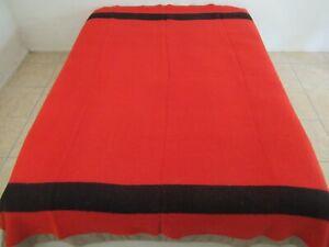 "Vintage NO Label, Probably Penney's, Red & Black Wool Blanket; 86"" x 76""; Good!"