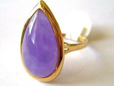 New Natural 14k Solid Yellow Gold Y/G Lavender Jade Ring, 14*22mm, SZ-7.5 NWT