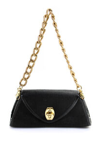 Eric Javits Womens Woven Gold Tone Chain Structured Satchel Black Small Handbag