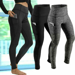 Women High Waist Gym Leggings Pocket Fitness Sports Running Ladies Yoga Pants UK