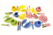 36 Pc Vintage Frenzy Toys Play Dishes Girls China Tea Set Pretend Fiestaware mod