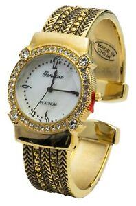 Blekon Collections Women's Quartz 30mm Cut-Crystal Dial Concho Cuff Bangle Watch