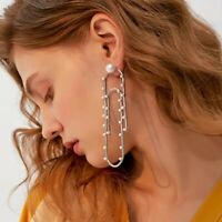 Stunning Major Designer Style Paper Clip Pearl Embellished Runway Drop Earrings
