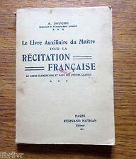Livre scolaire Le livre auxiliaire du maitre pour la RÉCITATION FRANÇAISE 1934