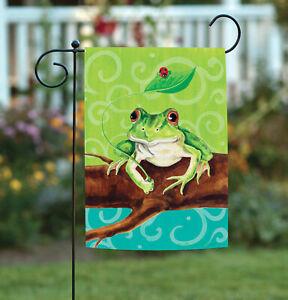 New Toland Frog on a Branch 12.5 x 18 Bright Green Swirl Ladybug Garden Flag