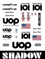 #101 UOP Oil Shadow White car  1/64th HO Scale Slot Car Decals