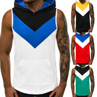 Men Sports Gym Vest Color Block Sleeveless T-shirt Casual Hooded Patchwork Tops