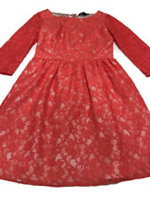 French Connection Orange/Coral 3/4 Sleeve Lizzie Lace Floral Dress Size 4/Small