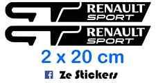 2x Sticker GT Renault Sport 20cm Autocollants - Megane Twingo Clio Cup 16s Wind