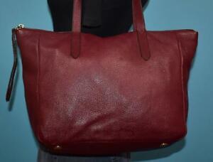 FOSSIL SYDNEY SHOPPER Burgundy Red Leather Carryall Shoulder Tote Purse Bag